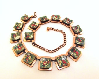 Exceptional Matisse Enameled Copper Necklace - Mid Century Geometric Collar Necklace - Early 1950s Modernist