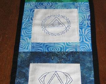 Chakras Banner or Altar Cloth, Meditation, Ritual, Pagan, Wiccan, Altar Tools, Tablerunner