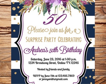 Watercolor 30th Birthday Invite, Adult Birthday, amethyst, 40th, 50th, 60th Birthday, 70th, 80th,navy, purple flowers, navy white stripes