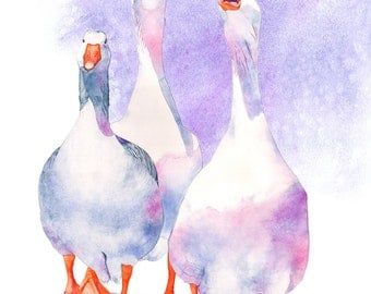 Geese print watercolour painting, G14416, A3 size print, Geese watercolor painting print, goose watercolour painting print