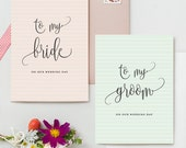 To My Bride To My Groom On Our Wedding Day Card - 2 Pack - Thin Stripes Pattern