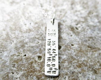 Latitude Longitude Necklace | Coordinates Jewelry | Latitude Longitude Jewelry | Sterling Silver Bar Necklace | Custom Date | Personalized