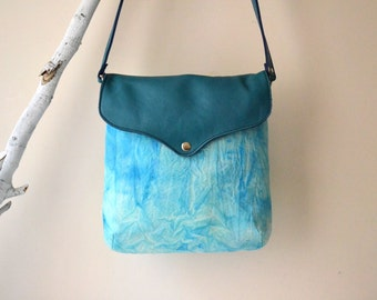 Hand-Dyed Cotton Canvas Messenger Bag, Hand-Dyed Turquoise Purse, Canvas Leather Crossbody Bag, Unique Bag, Mother's Day Gift