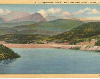 Timpanogos Lake at Deer Creek Dam, Provo, Canyon, Utah Linen Post card Vintage Postcard
