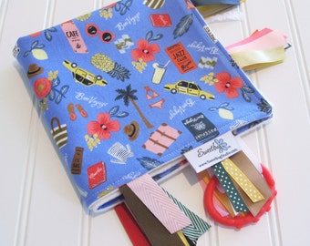 Sensory Ribbon Blanket,Lovey,Tag Blanket/Bon Voyage in Periwinkle/Organic Cotton Fleece