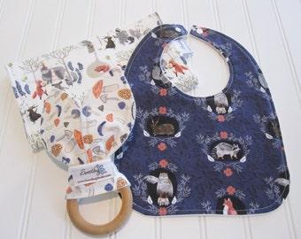 Newborn Gift Set/Infant Bib, Burp Cloth & Teether/Foxtail Forest/Organic Fleece Back