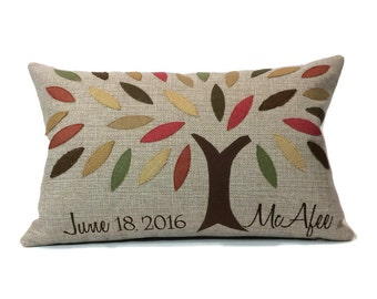Family Tree Applique and Embroidered Decorative Throw Pillow Cover - Embroidered Pillow Cover - Monogrammed - Custom Made
