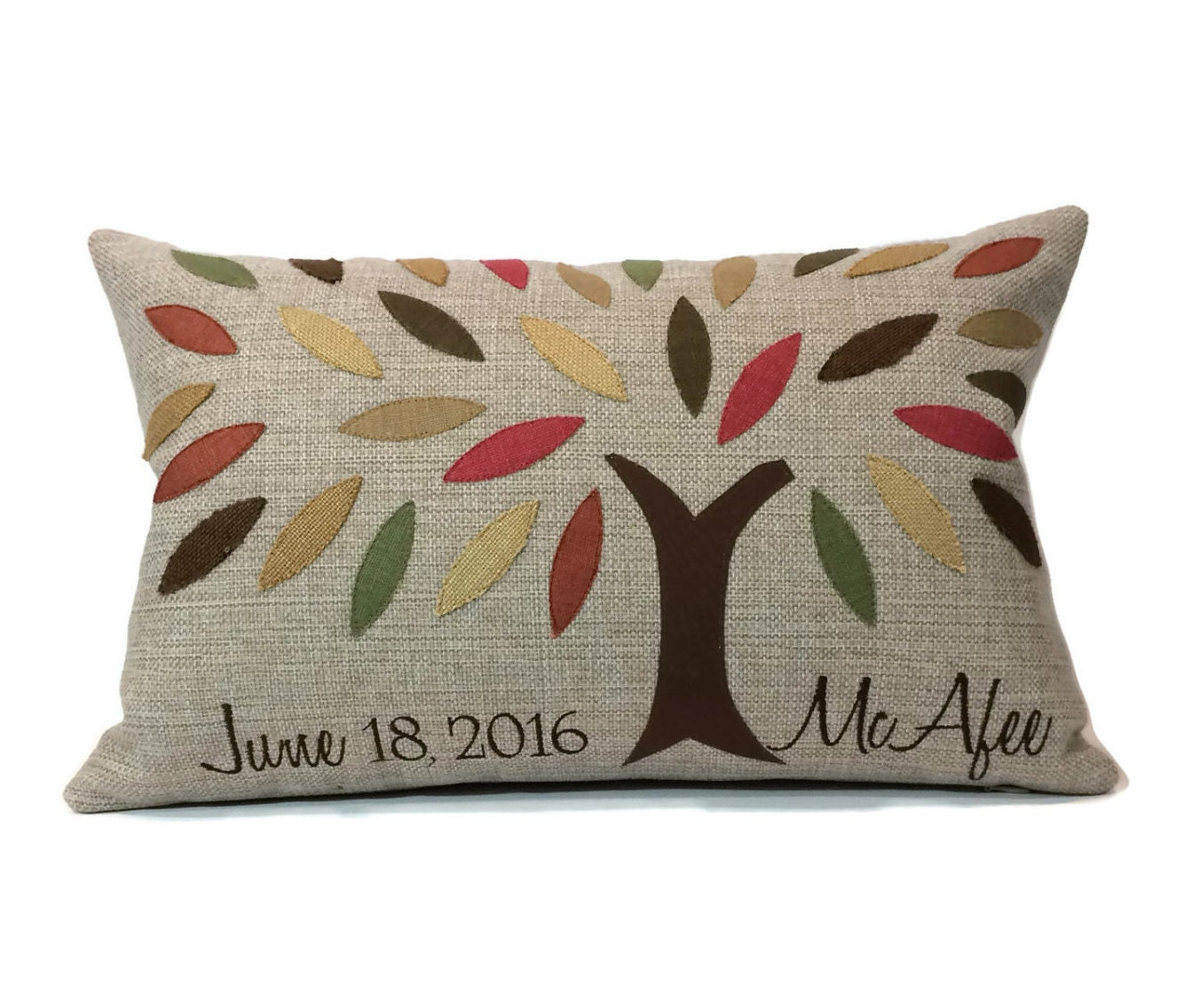 Personalized Embroidered Throw Pillows : Family Tree Applique and Embroidered Decorative Throw Pillow Cover - Embroidered Pillow Cover ...