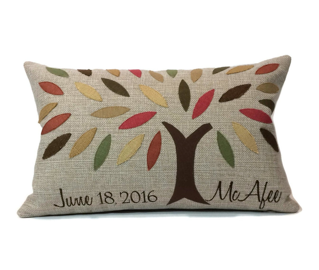 Throw Pillow Fabric Calculator : Family Tree Applique and Embroidered Decorative Throw Pillow Cover - Embroidered Pillow Cover ...