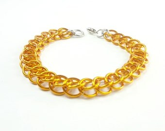 Orange Chainmaille Bracelet Persian Weave In Anodized Aluminum