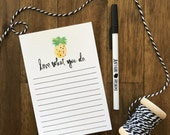 Love What You Do Notepad // Hand drawn and hand lettered Pineapple // Perfect gift