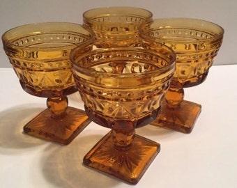 "Set of 4 Indiana Glass Colony Park Lane Amber Champagne Sherbet Dessert 4.25"""