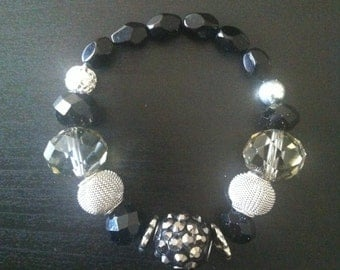black and silver beaded bracelet