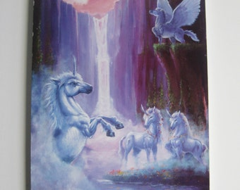 Vintage Unicorn Art - Ken Rowe / 1980s Unicorn / Fantasy Art - 1980s