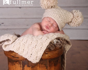 Baby Gift Set, Crochet Baby Travel Blanket and Hat Gift Set, Off White, Oatmeal, Neutral