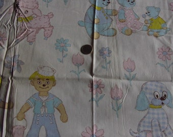 Vintage Nursery Rhyme Fabric White Cotton Jack & Jill J. 37 x 35