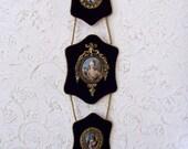 Victorian Cameo Navy Velvet Wall Decor 3 Portraits