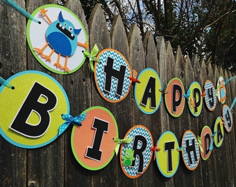 MADE TO ORDER Monster Party Happy Birthday Banner - Customize Your Way