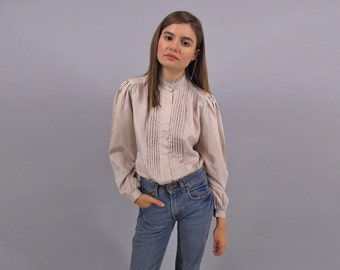 Vintage 70s Tuxedo Blouse, Puff Sleeve Blouse, Secretary Top Δ size: sm / md