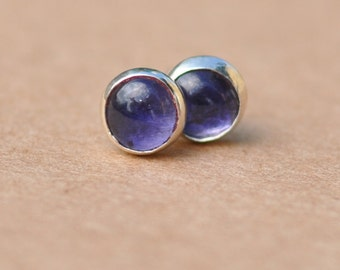 Blue Iolite Earrings with Sterling Silver Studs. 4mm Cabochon Gemstones