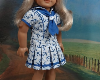 Sailor style dress for American Girl or similar 18 inch doll
