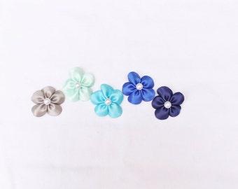 Ocean Collection - Set of 5 Mini Flower Hair Clips - Shades of Blue - Beach Theme Hair Bows