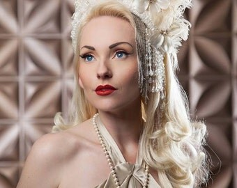 Ivory Beaded Feathered Fantasy Gatsby 1920's to 1940's Glam Glamour Flapper hat crown wreath headdress tiara headpiece party costume