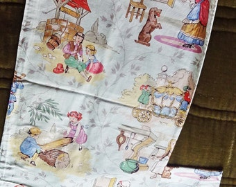 Nursery Curtains, Antique Curtains, Childrens Bedroom Drapes, Nursery Rhyme Curtains, Handmade , For Boys and Girls, Non Gender