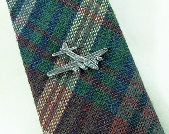 Tie Tack or Lapel Pin, Mens Silver Historical B-17 Flying Fortress Bomber Airplane  Mens Accessories  Handmade