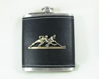 Flask Ice Hockey Leatherette  Wrapped with Brass Hockey Players  Mens Accessories  Handmade
