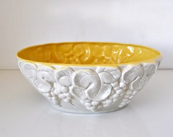 Vintage California Pottery Grey and Yellow Grape Bowl 438