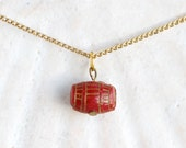 Tiny Red Barrel Necklace - Antique Celluloid Pendant Charm without chain