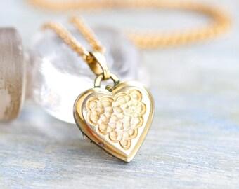 Golden Heart Shaped Locket Necklace - Photo Keepsake Pendant on Chain