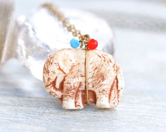 Tiny Glass Elephant Necklace - Antique Animal Pendant Charm on a chain