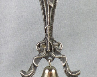 Nautical Hand Bell Pewter Whale Ship Silver Admiral Z Fisherman Whale Hunter