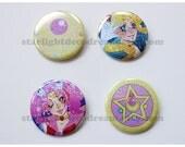 Sailor Moon Sparkly Button for Fairy Kei, Mahou Kei, Magical Girl Fashion