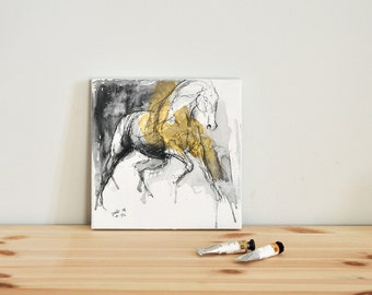 Galop Horse, Animal, Modern Original Fine Art, Watercolor and Black Chalk Painting of Horse