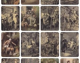 "A. Mickiewicz's Poem ""Mr Tadeus"", Illustrations by M. Andriolli. Set of 16 Vintage Polish Postcards -- 1954"