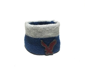 XX Small Blue and Gray Striped with Eagle Wool Blend Dog Neck Warmer, Handmade Designer Dog Accessory