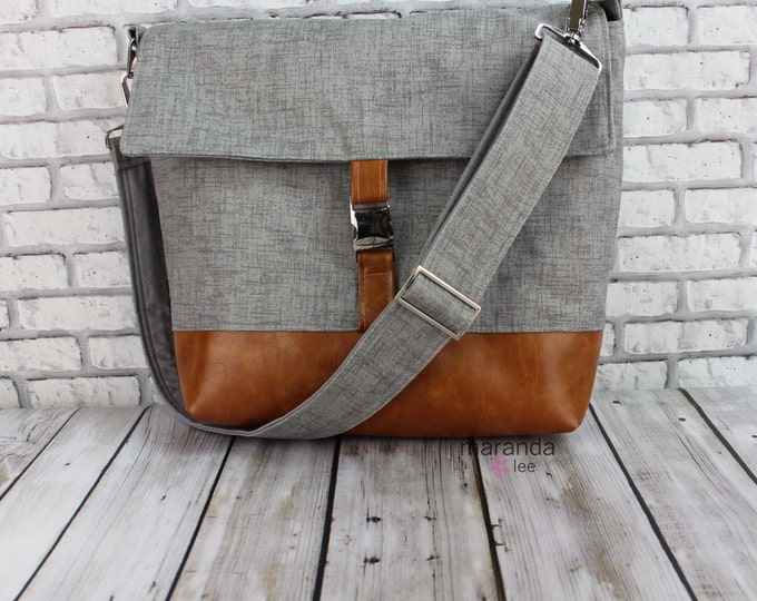 Lulu Large Flap Messenger Satchel  - Grey Denim and PU Leather Travel Business Nappy Bag Stroller Attachment