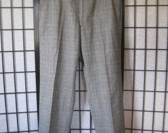 Vintage Austin Reed Slacks Glen Plaid Pure Virgin Wool Pants 33 Waist Preppy Trousers Black Navy Blue Red Ivory Flat Front