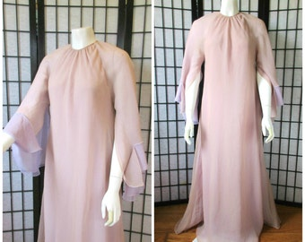 Vintage Chiffon Gown Mod Evening Dress 1960s 1970s Formal Maxi 39 Bust Long Draped Angel Sleeve Champagne 1930s 1940s Style L XL