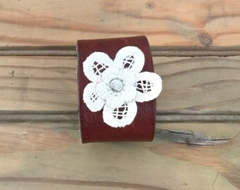 Handmade Leather Cuff Bracelet with Layered Crochet Flower Accent - Size MEDIUM - Upcycled