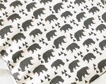 Fitted Crib Sheet Geometric Bear - Cream and Brown - Designed by Andrea Lauren-Woodland Crib Sheet-Bear Crib Bedding-Bear Crib Sheet-Organic