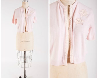 50s Vintage Sweater Soft Pink with Satin Trim and Applique Vintage 1950s Short Sleeve Cardigan Size Medium