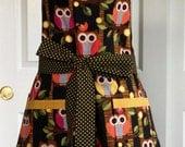 Owl Sunflower Womens Reversible Apron