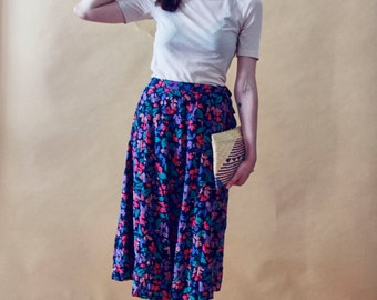 Vintage 70s Floaty Floral Silk Midi Skirt