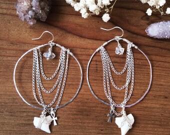 Tahitian Moon Hoop Earrings - Sterling Silver Gypsy Ocean Beach Bohemian Shark Tooth, Mermaid Chain Drape Herkimer Diamond Raw Hammered Boho