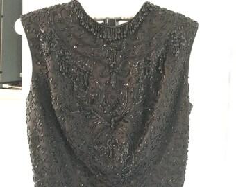 1960s Beads and Chiffon Coctail Dress