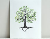 Instant Wall Art or Home Decor Gift / Digital File / Rustic Green Tree